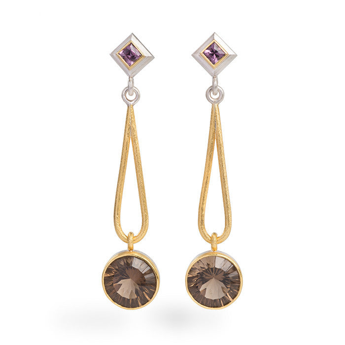 Spinel and Smokey Quartz Earrings