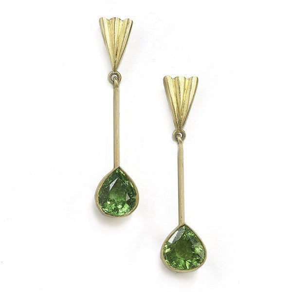 Tsavorite long drop earrings