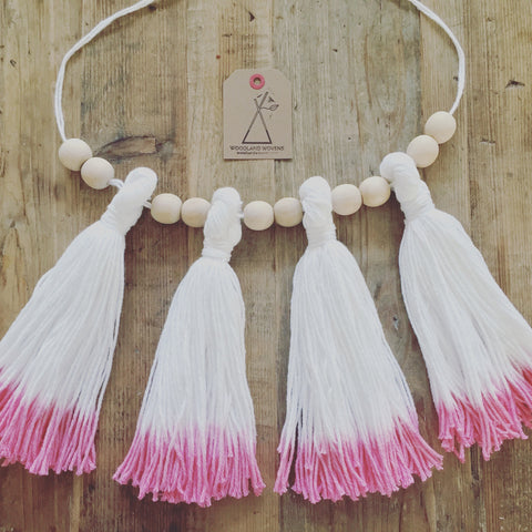Dip Dyed Wooden Bead Garland