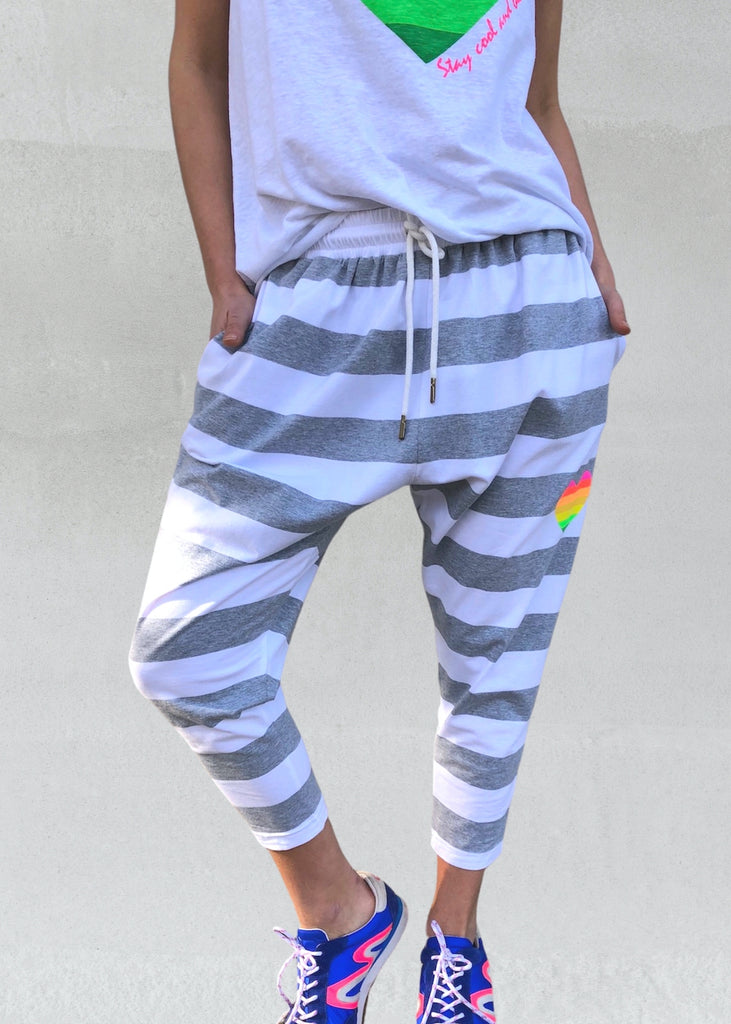 Stripe Jersey Pant | Grey / White