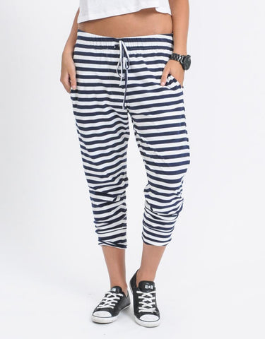 Falling Bricks Stripe Pant | Navy