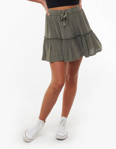 Supple Washed Skirt | Khaki