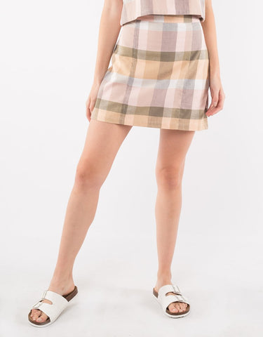 Rainbow Check Mini Skirt