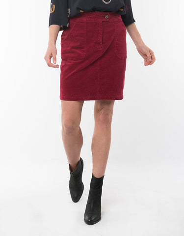 Ellie Cord Skirt | Berry Red
