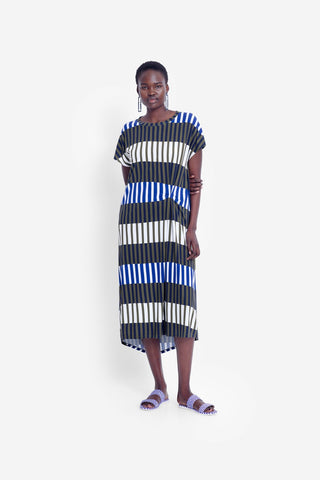 Valby Dress | Olive Stripe Mix