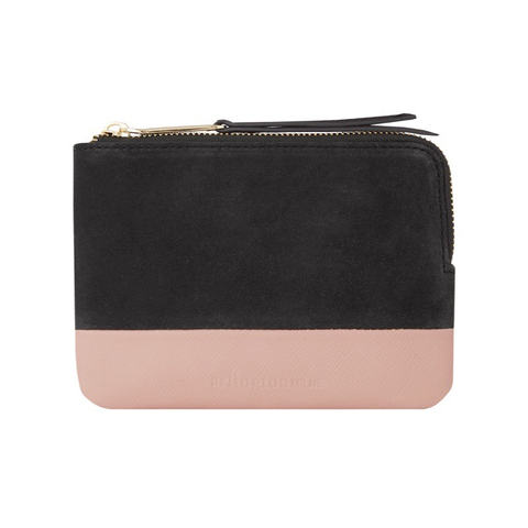 Lou Lou Coin Purse - Charcoal Suede & Nude