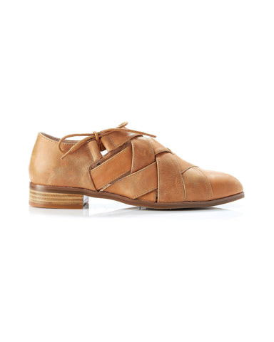 Abbie Leather Lace-Up - Tan