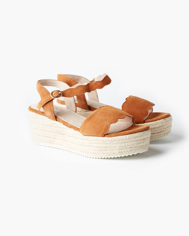 Chyka Scallop Wedge | Tan Suede | Chyka X Walnut Melbourne