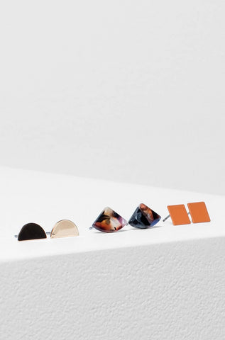 Heden 3 Pack Earring | Gold / Orange / Black Resin Multi