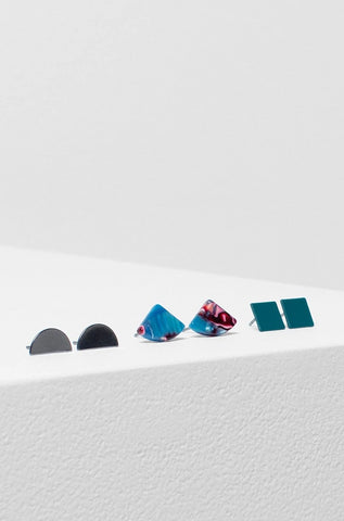 Heden 3 Pack Earring | Gunmetal / Forest / Pink Resin Multi