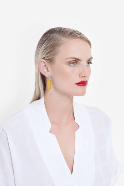 Eda Earring || Peony / Blue | Yellow / Chalk | Blue / White | White / Green | Black / Black