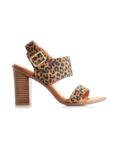 Havana Leather Block Heel | Tan Leopard