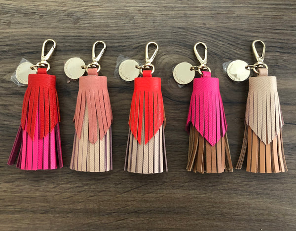 Tiered Leather Tassel | Tangerine / Nude