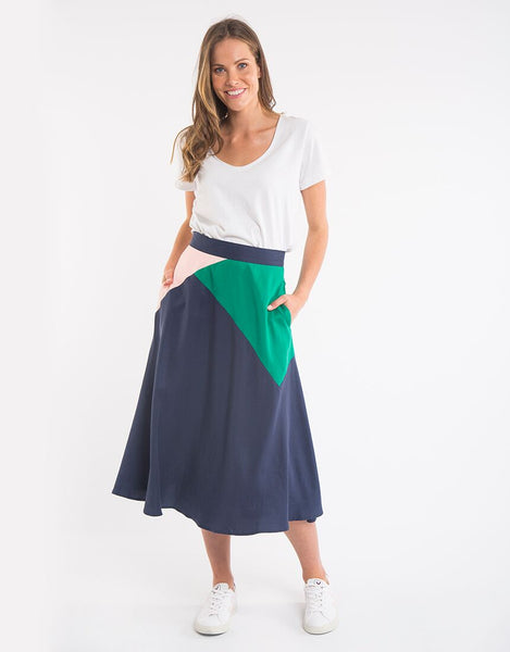 Fern Panel Skirt | Navy