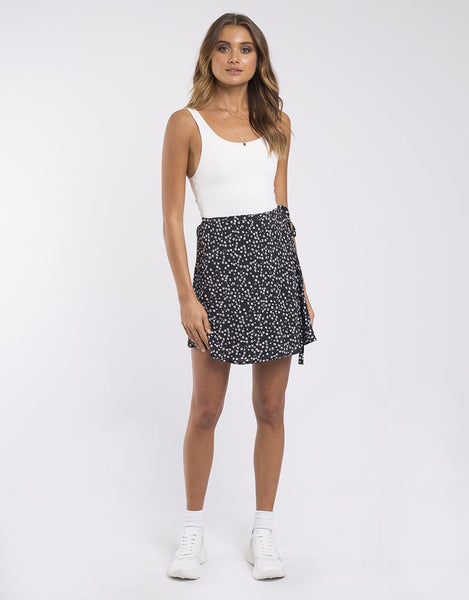 Something Floral Wrap Skirt | Black