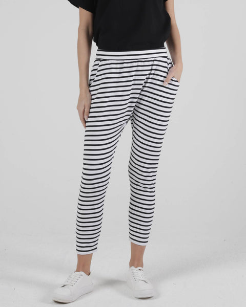 Lola Pant | White / Black Stripe