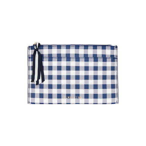 New York Coin Purse | Navy Gingham