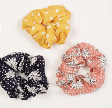 Floral Spot Scrunchie Pack