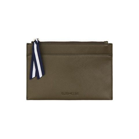 New York Coin Purse | Khaki Saffiano