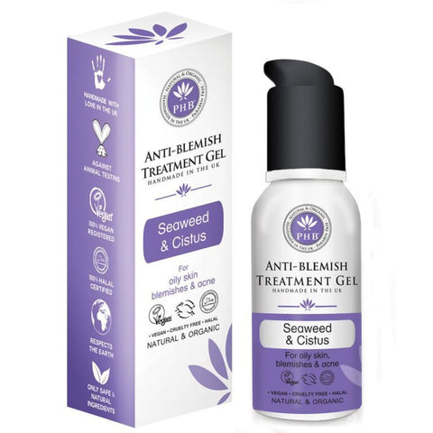 Vegan PHB Ethical beauty Anti-Blemish Treatment Gel with Organic Seaweed & Cistus 50ml Treatments buy at green mindset