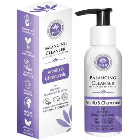 Vegan PHB Ethical beauty Balancing Facial Cleanser with Lavender & Vanilla 100ml Cleanser buy at green mindset