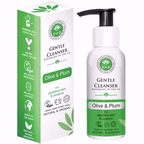 Vegan PHB Ethical beauty Gentle Cleanser/make up remover with Olive & Plum 100ml Cleanser buy at green mindset