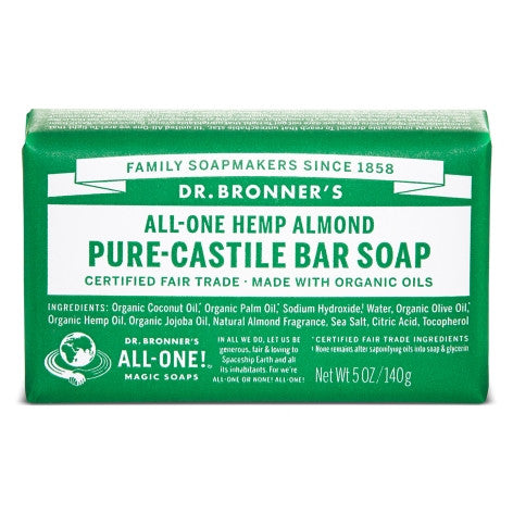 Vegan Dr.Bronner's Dr. Bronner's Almond Castile Soap bar 140gr Soap buy at green mindset