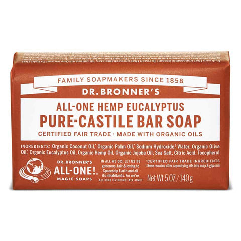 Vegan Dr.Bronner's Dr. Bronner's Eukalyptus Castile Soap bar 140gr Soap buy at green mindset