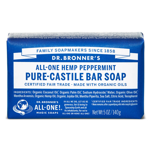 Vegan Dr.Bronner's Dr. Bronner's Peppermint Castile Soap bar 140gr Soap buy at green mindset