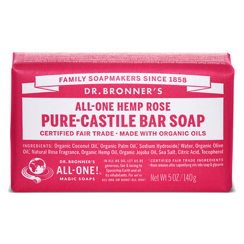 Vegan Dr.Bronner's Dr. Bronner's Rose Castile Soap bar 140gr Soap buy at green mindset