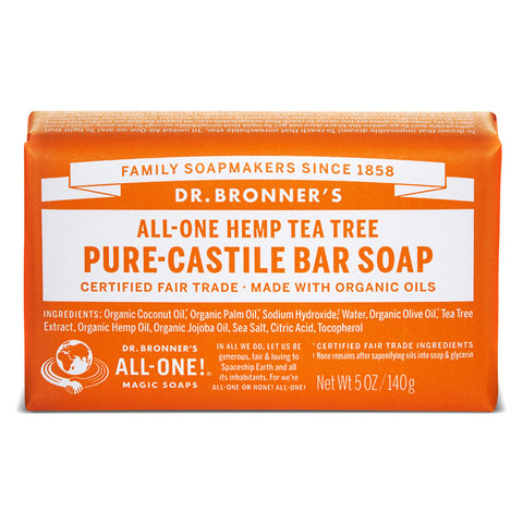 Vegan Dr.Bronner's Dr. Bronner's Tea tree Castile Soap bar 140gr Soap buy at green mindset