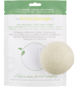 Vegan Konjac Sponge French Green Clay Konjac Facial Sponge - for oily and acne prone skin Exfoliator buy at green mindset