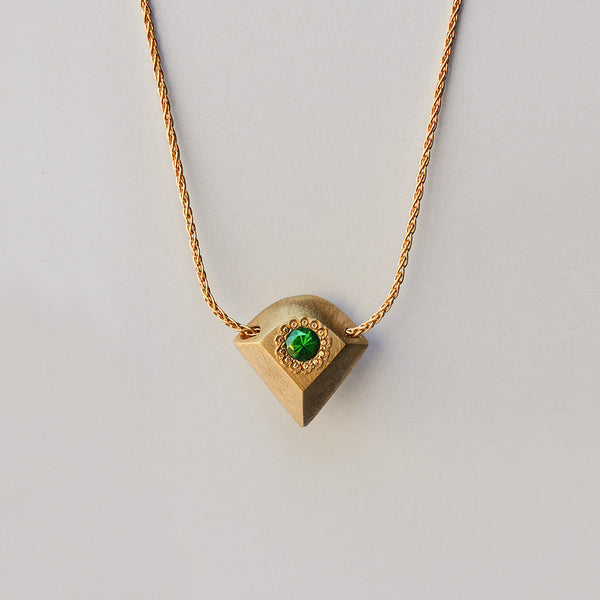 Rhombus necklace - 18k gold & Tsavorite