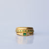 Square ring - 18k solid gold Emerald & diamonds