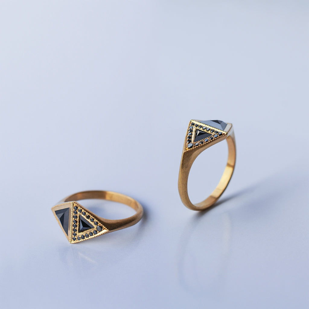 Black Trillion ring - 18k solid gold & black diamond