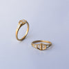 Double Trapezoid Diamond Ring - 18k solid gold