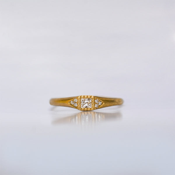 Princess ring - 18k solid gold & diamonds