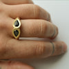 Lotus drop ring - 18k solid gold & Sapphires