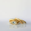 Diamond ring - 18k solid gold & Aquamarine