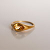 Drop ring - 18k solid gold with yellow sapphire