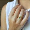Drop ring - 18k solid gold & Green Sapphire