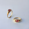 Halo Drop ring - 18k solid gold & Rubies
