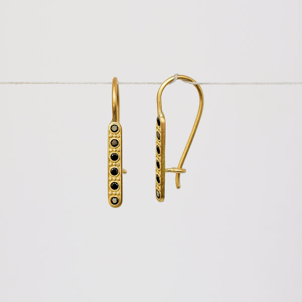 Decorated earrings - 18k solid gold & black diamonds