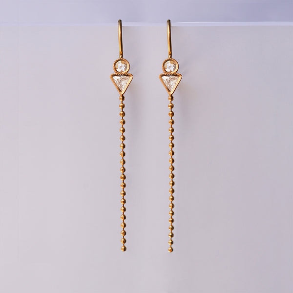 Geometric earrings - 18k solid gold & diamonds.