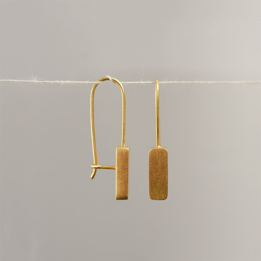 Rectangle Earrings - 18k solid gold