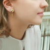 Rhombus earrings - 18k solid gold & Tsavorite