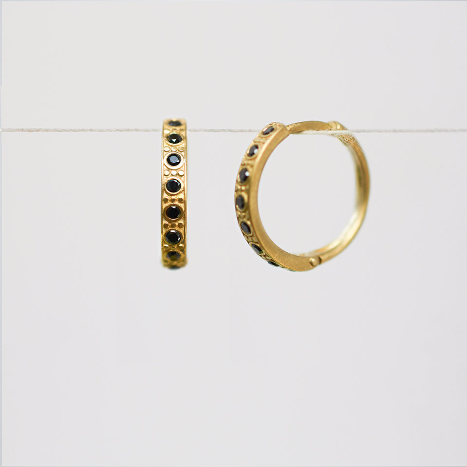 Decorated hoop earrings - 18k solid gold & black diamonds