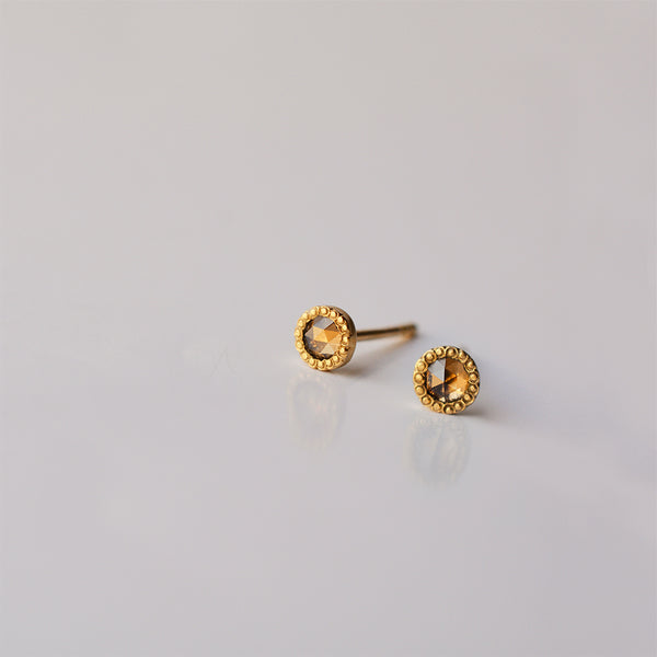 Chocolate Diamond stud earrings - 18k solid gold
