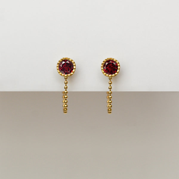 Garnet earrings - 18k solid gold