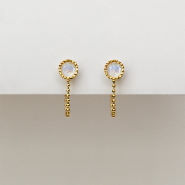 Moonstone earrings - 18k solid gold